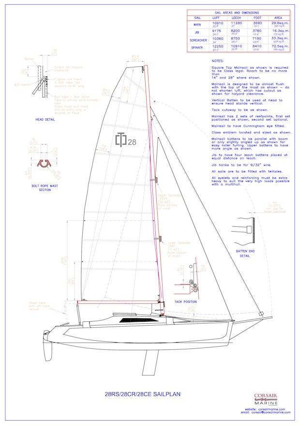Segelplan Corsair 28